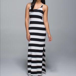 Lululemon refresh maxi dress black white stripe